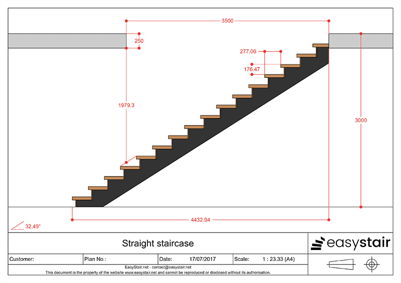 Plan for straight staircase